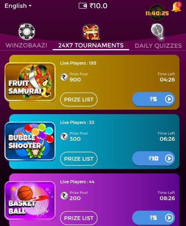 winzo app 24X7 tournaments